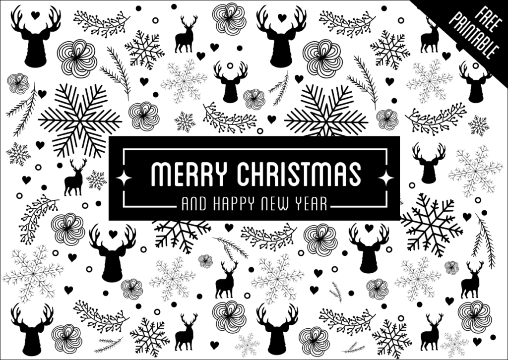 christmas greeting card black and white with holiday elements pattern