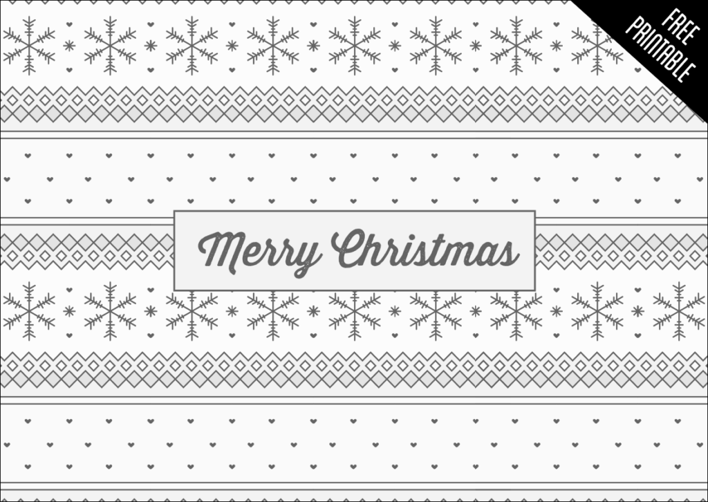 Winter Pattern, Free Christmas Printable greeting card