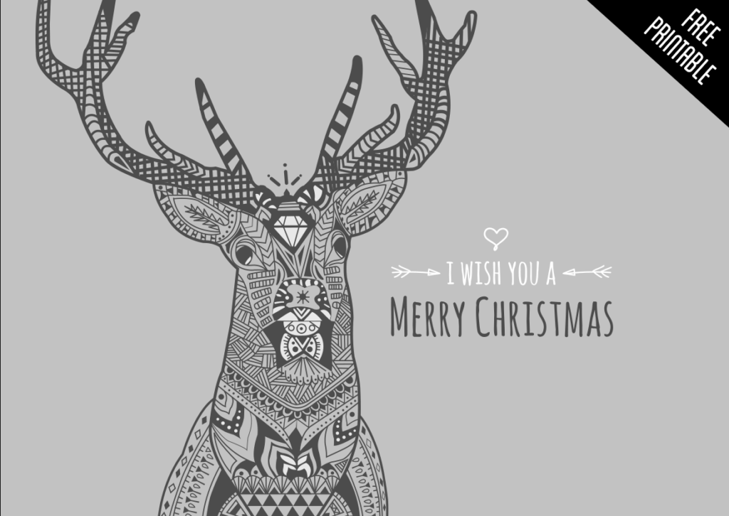 I wish you a merry Christmas, illustrated deer and free typography