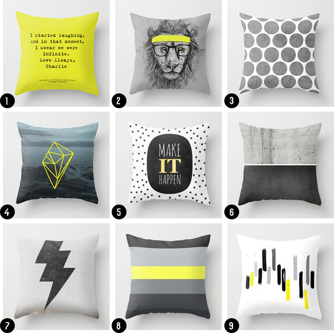 Black White Grey and yellow throw pillows