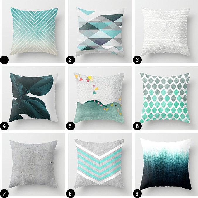 Grey, Teal Throw pillows