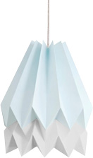 Blue and white origami lampshade