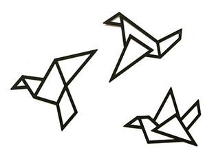 Metal origami birds