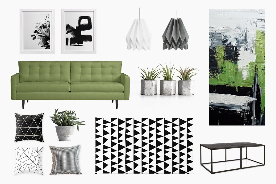 An urban living room: black, white & green - BelivinDesign