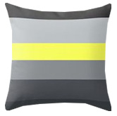 Grey and yellow striped throw pillow