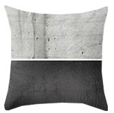 Black and concrete grey throw pillow
