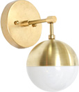 Brass & glass wall sconce