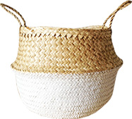 Dipped White Sea Grass Belly Basket