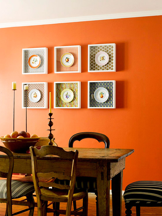 Shadowboxes and plates wall decor