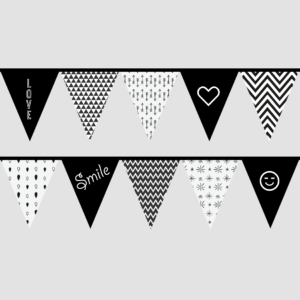 Black and white bunting flag printables