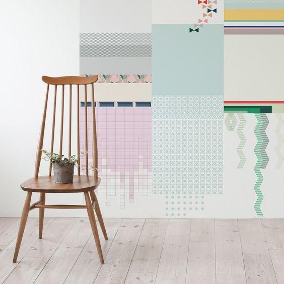 Geometric collage wallpaper