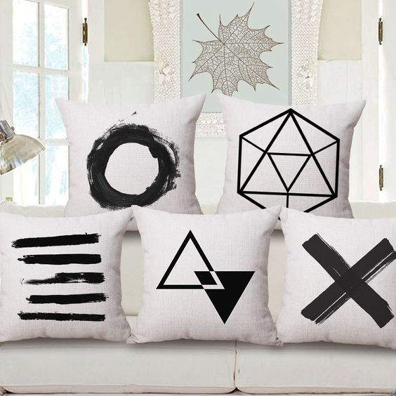 Black and white throw pillows