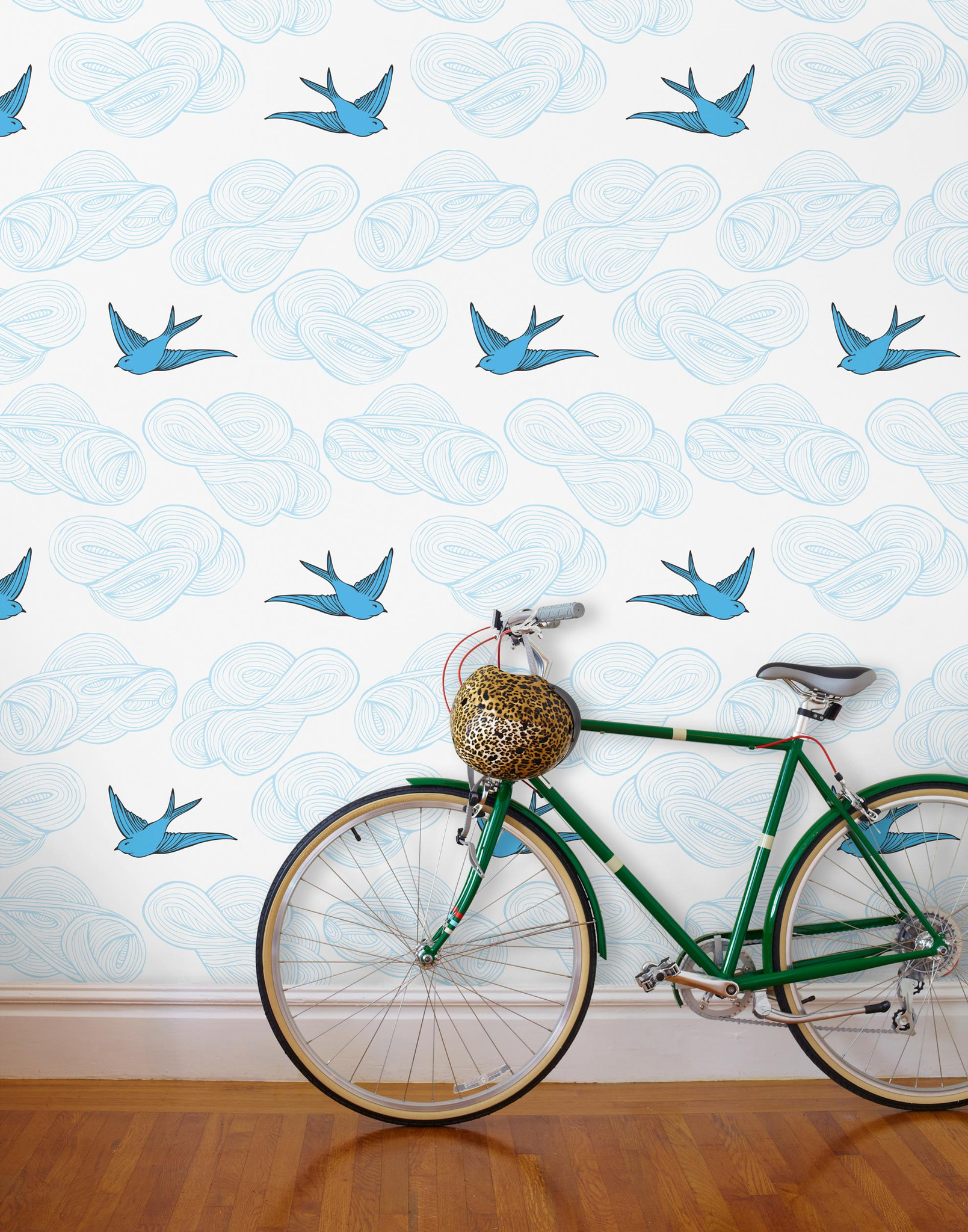 French blue birds wallpaper