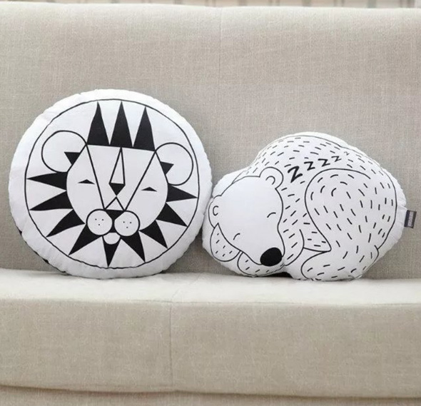 Black and white animals pillows