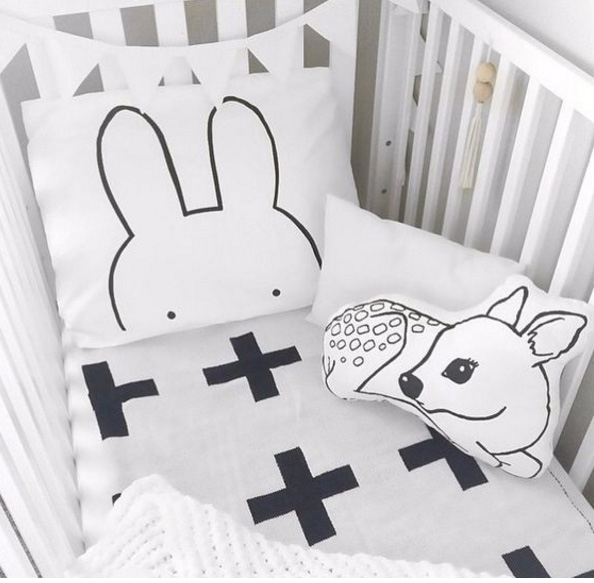Black and white nursery room bedding