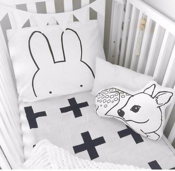 Black and white nursery room bedding