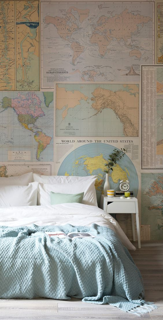 Light Vintage Map Collage Wallpaper