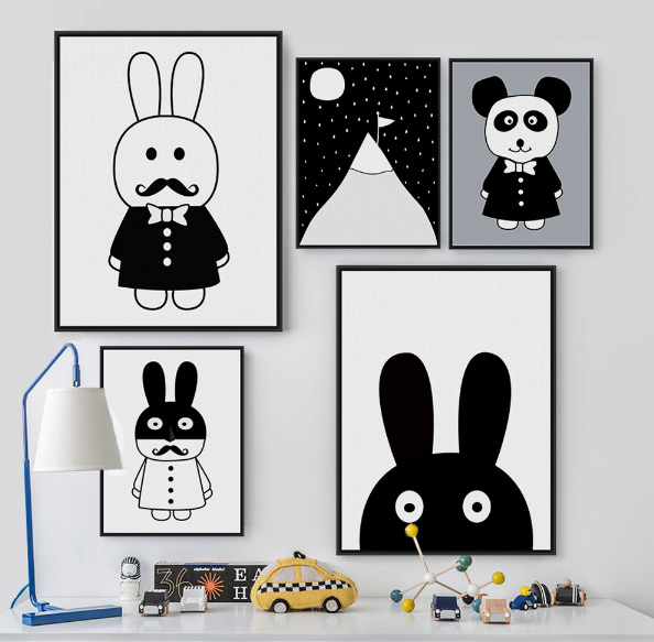 Black and White nursery room wall decor