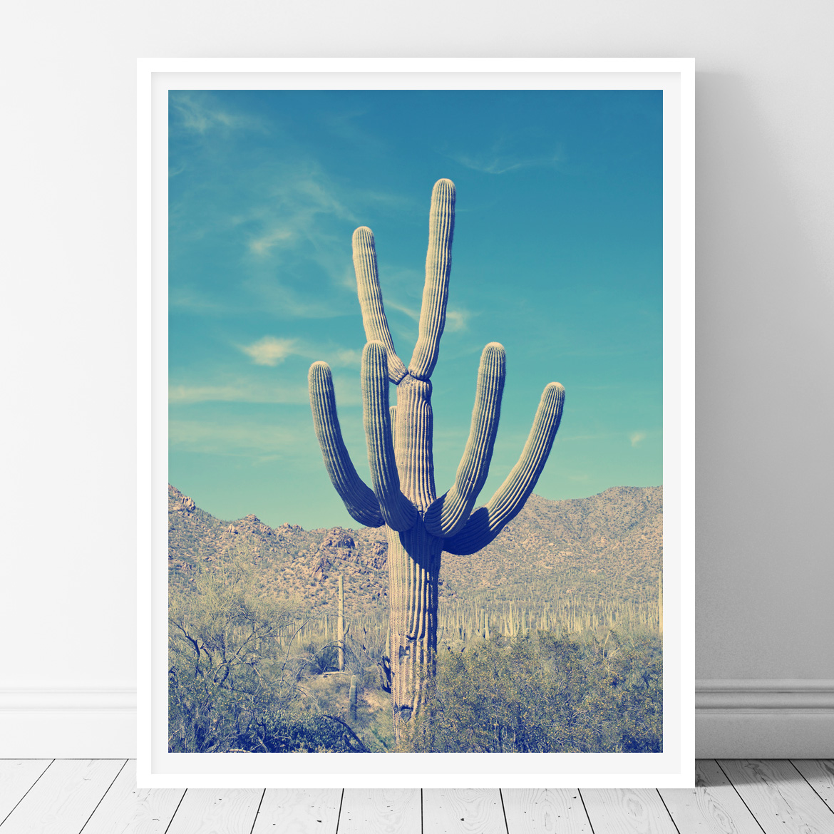 photo about Cactus Printable identified as Blue Cactus- Printable Wall Artwork