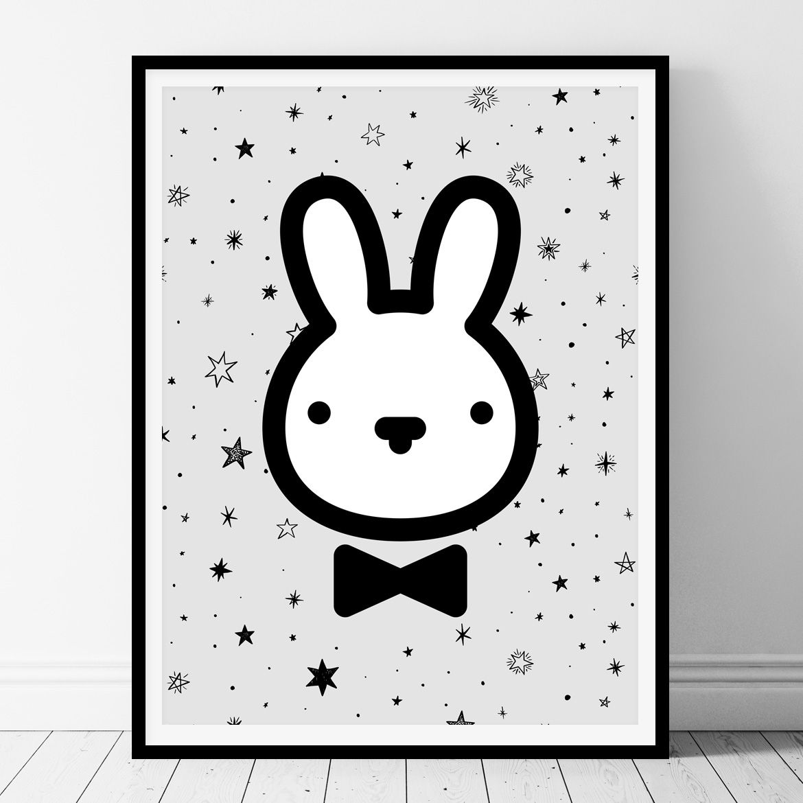 Bunny - black and white printable