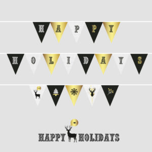 Happy holidays bunting flags
