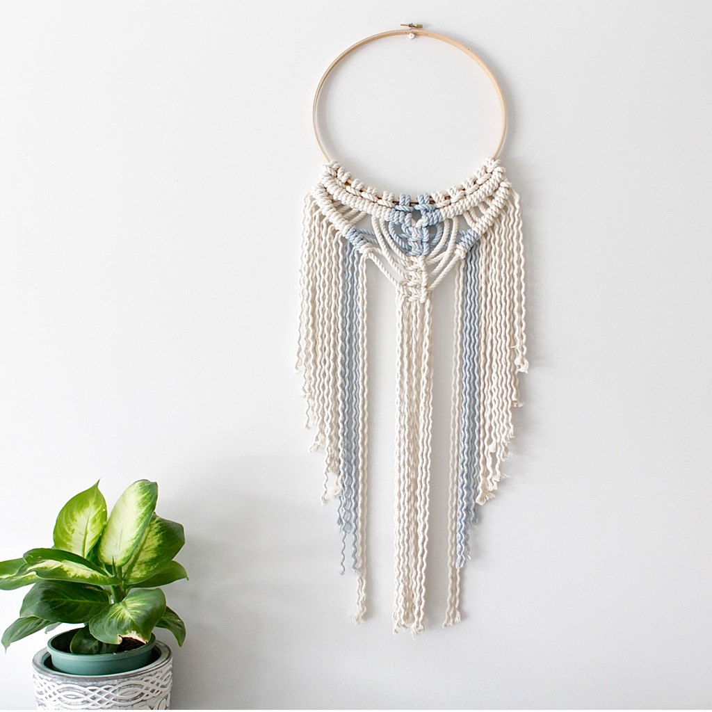 Tribal hoop macrame wall hanging