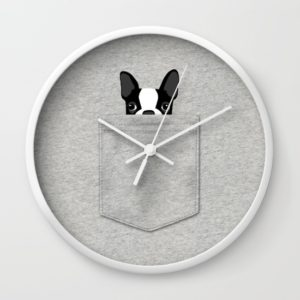 pocket-boston-terrier-black-wall-clocks