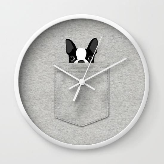 pocket-boston-terrier-black-wall-clocks