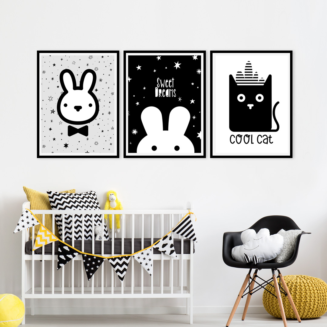Black and white kids room printables set of 3 Black and white room decor