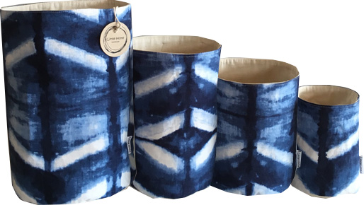 Shibori fabric basket