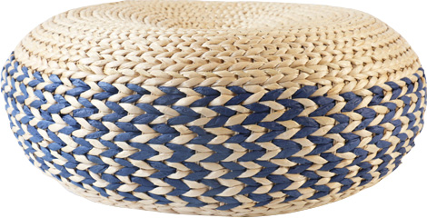 Colored straw rustic poof