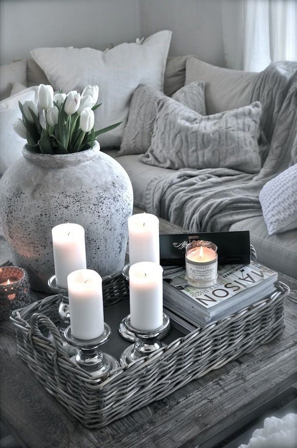 Romantic U0026 Cozy Coffee Table Decor Ideas