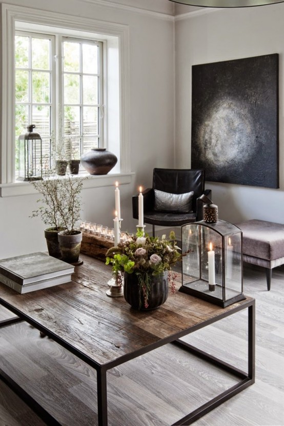Beautiful Rustic Coffee Table Decor With An Industrial Touch