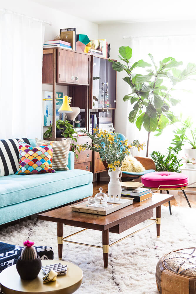 Colorful Boho-Chic Coffee Table Decor